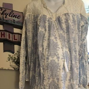 Blue and white lace paisley maternity blouse